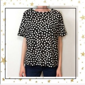 Zara Polka dot black&white short sleeve tee (C3)